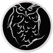 Sleepy Owl Round Beach Towel