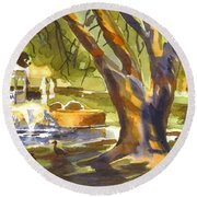 Round Beach Towel featuring the painting Sleepy Summers Morning by Kip DeVore