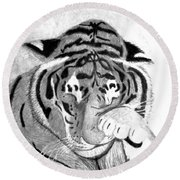 Sleepy Tiger Round Beach Towel