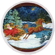 Sleigh Ride Round Beach Towel