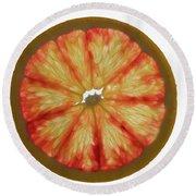Slice Of Grapefruit, Backlit Round Beach Towel