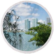 Slice Of Miami Skyline Round Beach Towel by Robert VanDerWal
