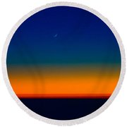 Round Beach Towel featuring the photograph Slice Of Moon In The Night Sky by Don Schwartz