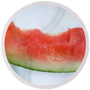 Slice Of Watermelon With Bites Taken On Fabric Napkin Round Beach Towel