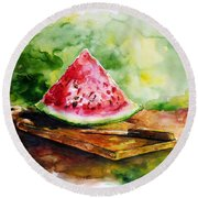 Sliced Watermelon Round Beach Towel