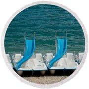 Slide Boats On Beach, Lac De Sainte Round Beach Towel