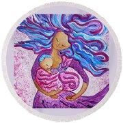 Sling Dance Motherhood Babywearing Dance Artwork Round Beach Towel