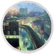 Sloan's The City From Greenwich Village Round Beach Towel