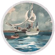 Round Beach Towel featuring the painting Sloop  Nassau Bahamas by Winslow Homer