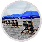 Slow Day At The  Beach Round Beach Towel