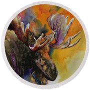 Sly Moose Round Beach Towel