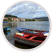 Small Boats In Galicia Round Beach Towel