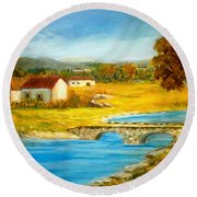 Small Cottage Round Beach Towel