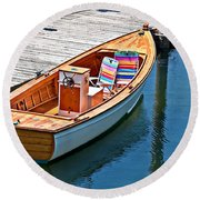 Small Dinghy Boat Art Prints Round Beach Towel by Valerie Garner