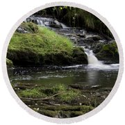 Small Falls On West Beaver Creek Round Beach Towel