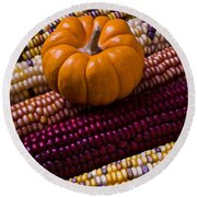 Small Pumpkin And Indian Corn Round Beach Towel