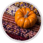 Small Pumpkin With Indian Corn Round Beach Towel