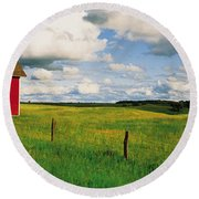 Small Red Schoolhouse, Battle Lake Round Beach Towel