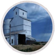 Round Beach Towel featuring the photograph Small Town Hot Night Big Storm by Cathy Anderson