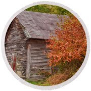 Small Wooden Shack In The Autumn Colors Round Beach Towel by Jeff Folger
