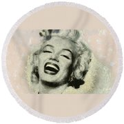 Round Beach Towel featuring the painting Smile Marilyn Monroe Black And White by Georgi Dimitrov