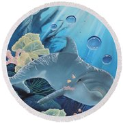 Round Beach Towel featuring the painting Smiley by Dianna Lewis