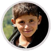 Round Beach Towel featuring the photograph Smiling Boy In The Swat Valley - Pakistan by Imran Ahmed