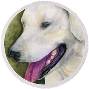 Smiling Lab Round Beach Towel by Stephen Anderson