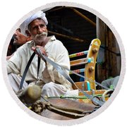 Smiling Man Drives Horse Carriage In Lahore Pakistan Round Beach Towel