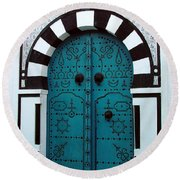 Round Beach Towel featuring the photograph Smiling Moon Door by Donna Corless