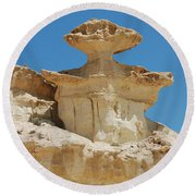 Smiling Stone Man Round Beach Towel