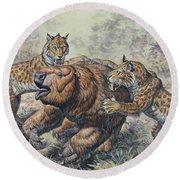 Smilodon Dirk-toothed Cats Attacking Round Beach Towel