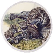 Smilodon Sabertooth Mother And Her Cubs Round Beach Towel
