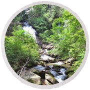 Smith Creek Downstream Of Anna Ruby Falls - 3 Round Beach Towel
