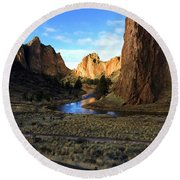Smith Rock December Morning 3 Round Beach Towel