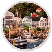 Smiths Cove Gloucester Round Beach Towel by Eileen Patten Oliver
