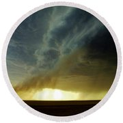 Round Beach Towel featuring the photograph Smoke And The Supercell by Ed Sweeney