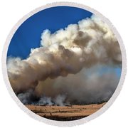 Smoke Column From The Norbeck Prescribed Fire. Round Beach Towel