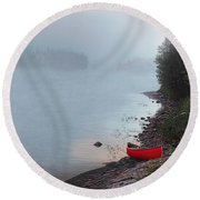Round Beach Towel featuring the painting Smoke On The Water by Kenneth M Kirsch