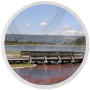 Round Beach Towel featuring the photograph Smoke On The Water by Mary Carol Story