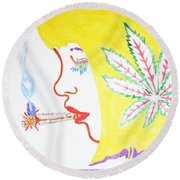 Round Beach Towel featuring the painting Smoking Blonde by Stormm Bradshaw