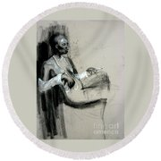 Round Beach Towel featuring the drawing Smoking by Gabrielle Wilson-Sealy