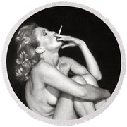 Smoking Nude  Round Beach Towel