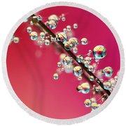 Smoking Pink Drops II Round Beach Towel by Sharon Johnstone