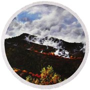 Smoky Mountain Angel Hair Round Beach Towel