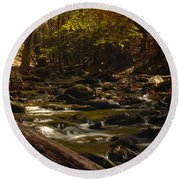Smoky Mountain Stream Round Beach Towel by Patrick Shupert