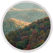 Smoky Mountain View Round Beach Towel