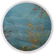 Round Beach Towel featuring the painting Smoky Mountains In Autumn by Judith Rhue