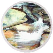 Smoky Mountains Waterfall Round Beach Towel