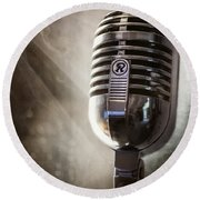 Smoky Vintage Microphone Round Beach Towel